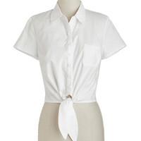 Little White Tie Top | Mod Retro Vintage Short Sleeve Shirts | ModCloth.com
