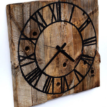 Rustic barn wood clock  Reclaimed Wood Wall Clock  Roman Numeral Clock