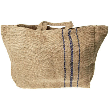 Hessian Burlap Basket Bag with Blue Lines, 16-in