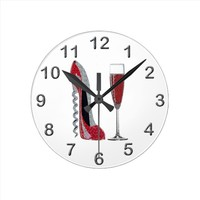 Corkscrew Red Stiletto and Red Wine Art Round Clock