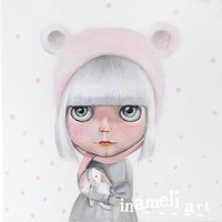 Winter princess , ooak custom Blythe doll original painting on canvas . art doll by inameliart