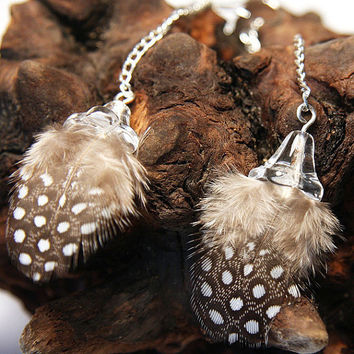 Dream Feather Earrings. Cute Baby Polka Dot. Guinea Feathers Dangle. Sterling Silver Chain. Tagt team