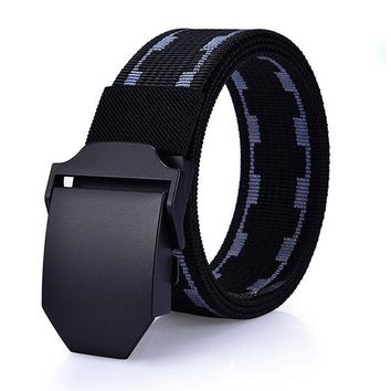 125cm Men New Canvas Nylon Waistband Durable Outdoor Sports Casual Automatic Buckle Belt