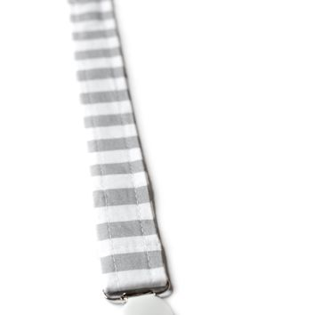 Pacifier Clip in Gray Stripes