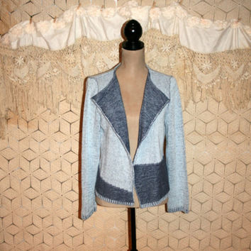 Blue Cardigan Sweater Grunge Sweater Boho Sweater Cotton Sweater Geometric Color Block Denim Cowgirl Western Medium Large Womens Clothing
