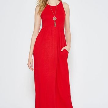 Solid Racerback Maxi Dress - Red