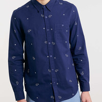 Navy paisley embroidered Long Sleeve shirt - Men's Shirts - Clothing - TOPMAN