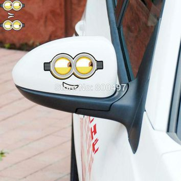 2 x Newest Minions Despicable Me Funny Eyes Rear View Mirror Stickers Car Decal for Toyota  Chevrolet Volkswagen Tesla  Kia Lada