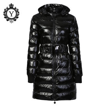 COUTUDI 2016 Long Women Clothing Winter Warm Jackets Shiny Solid Black Parkas Cotton Coats Female Waterproof Belt Parka Coats