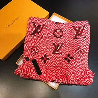 """Hot Sale LV """"Louis Vuitton"""" Stylish Women Tassel Embroider Scarf Scarves Shawl Red I-YH-FTMPF"""