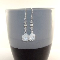 Earrings Sterling Silver Flowers With White Czech Glass Rondelles