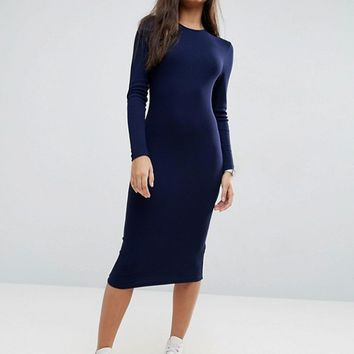 ASOS Midi Body-Conscious Dress in Rib with Long Sleeves at asos.com