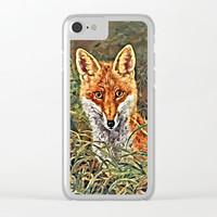 Fox In the Forest Clear iPhone Case by Digital Effects