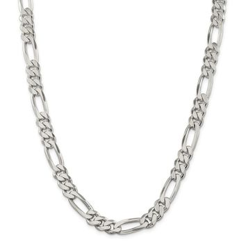 Sterling Silver 9mm Figaro Chain Necklace
