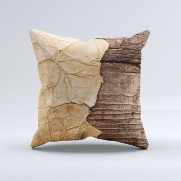 Vintage Paper-Wrapped Wood Planks ink-Fuzed Decorative Throw Pillow