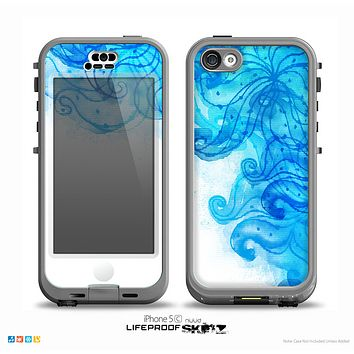 The Blue Water Color Flowers Skin for the iPhone 5c nüüd LifeProof Case