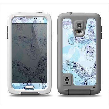The Light Blue Butterfly Outline Samsung Galaxy S5 LifeProof Fre Case Skin Set
