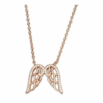Sterling Silver Rose Gold Tone Angel Wings Necklace with Cubic Zirconias