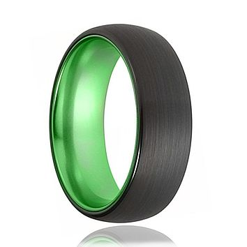 Tungsten Green Ring - Mens Wedding Band - Black Tungsten Brushed - Acid Green Tungsten - Domed - Tungsten Wedding Ring - Man Tungsten Ring - 6mm - 8mm