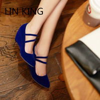 LIN KING New Fashion Ankle Strap Pointed Toe Sweet Bowtie Buckle Women Pumps Shallow Mouth Wedges Party Wedding High Heel Shoes