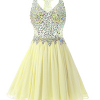Hot style short dress homecoming gown hand-beaded short mini sexy dress