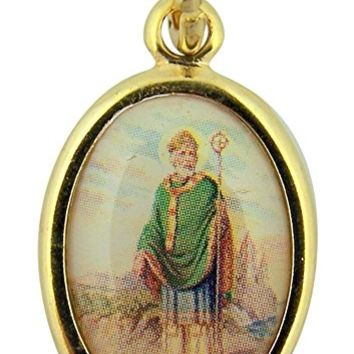 Gold Toned Base with Epoxy Image Catholic Saint Medal Pendant, 1 Inch