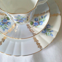 Antique Signed Royal Grafton Fine Bone China Chateau Blue/Teacup, Saucer and Dessert Plate/Wedding Gift/Bridal Shower/Tea Party
