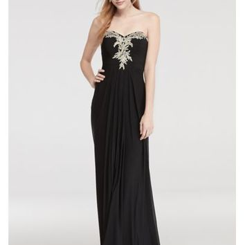 Strapless Prom Dress with Embroidered Neckline - Davids Bridal