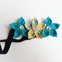 Baby Headband, Yellow and Teal Floral Headband, Easter Headband, Spring Headband, Toddler Girl Headband