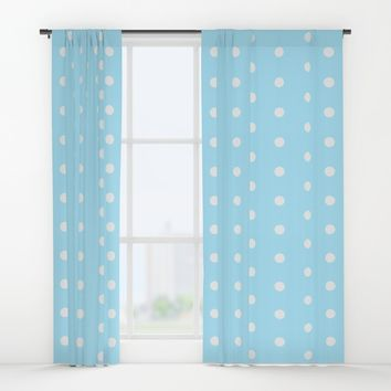 Polka dot pattern, classic blue, dotted, retro style design, white points, circles, vintage pin-up Window Curtains by Peter Reiss
