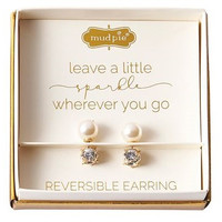 Rowena Reversible Earrings Pearl and Gold stones