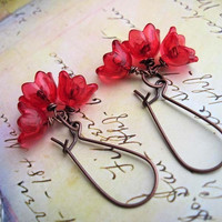 shiny Red Flower earrings