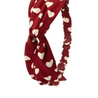 Heart Print Knotted Head Wrap by Charlotte Russe - Maroon