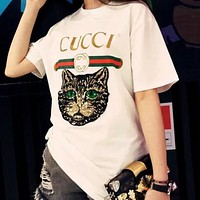 GUCCI 2018 new spring and summer loose lovers cat head short sleeve t-shirt White