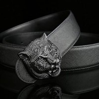 Belt brand designer mens belt senior tiger head copper buckle belts new design cowhide belts for men and women waist belts
