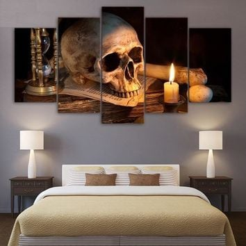 5 Piece Canvas Art Scary Skull Burning Candle HD Printed Wall Art Home Decor