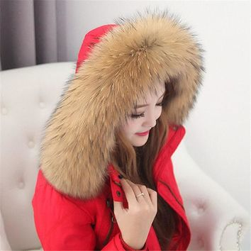 DCCKJG2 Real Raccoon Fur Scarf Women 100% Natural Raccoon Fur Collar Winter Warm Fur Collar Scarves Design For Lady Long 80cm Width 13cm