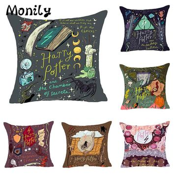 Monily Nordic Cartoon Harry Potter Polyester Cushion Covers Scenic Throw Pillow Cover Sofa Decorative Pillow Case Home Decor
