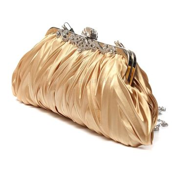 Fashion Lady Party Wedding Handbag Purse Girl Soft Evening Bag Bridal Women Satin Crystal Clutch