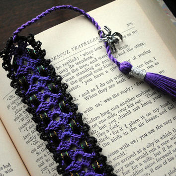 Crochet lace bookmark with a long tassel, purple, black, spider charm