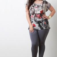 Graphic Print Dolman Sleeves Contrast Blouse Top
