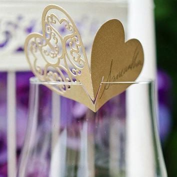 Laser Expressions Double Heart Filigree Die Cut Card Shimmer Paper  Vintage Gold (Pack of 12)