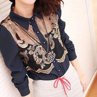 Sexy Sheer Chest Vintage Embroidery Front Dress Shirt
