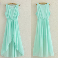 New Perspective Mint Green Irregular Chiffon Dress