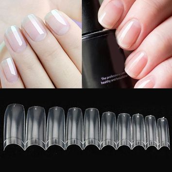 500Pcs/Lot Clear DIY Manicure False Nails Transparent Acrylic French Type Fake Nails UV Gel Nail Art False Nail Tips 10 Sizes