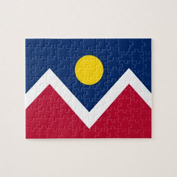 Puzzle with Flag of Denver City, Colorado State