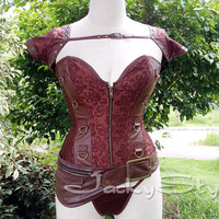 Steampunk Corset Brown Brocade and Faux Leather Sexy Victorian Corset TOP with Zipper Front Steel Boned Waist Training Women Punk Clothes