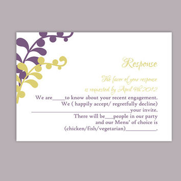 DIY Wedding RSVP Template Editable Text Word File Download Printable RSVP Cards Leaf Rsvp Violet Rsvp Card Template Olive Green Rsvp Card