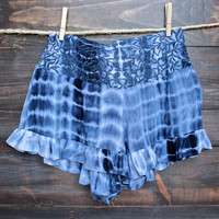 tie dye embroidered frilly shorts - navy