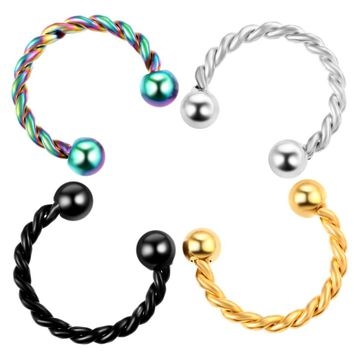 1pc Steel Septum Septo Gold Fake Nose Rings Piercing Circular Barbell Black Fake Nose Ring Fake Piercing Body Jewelry Piercing